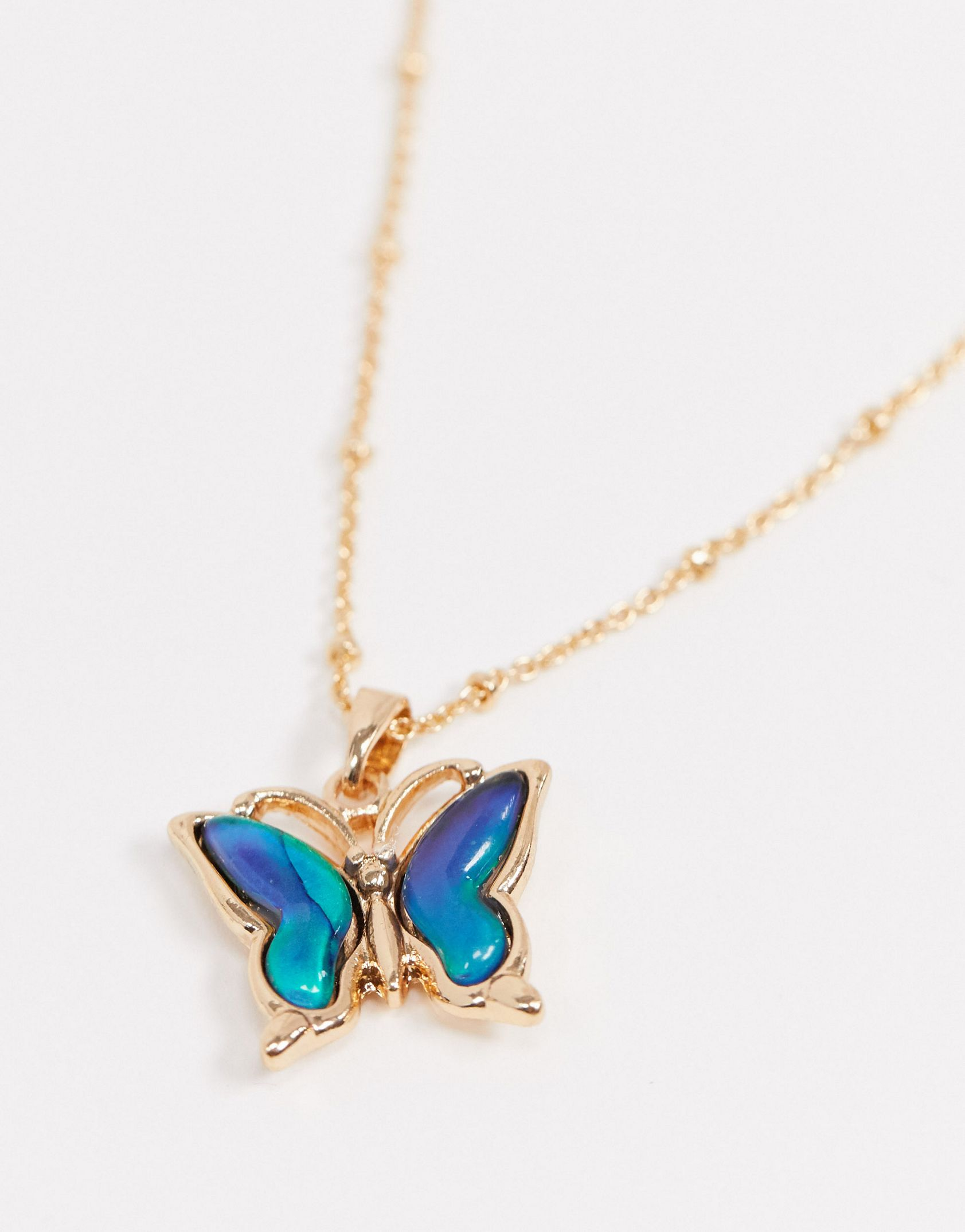 ASOS DESIGN necklace with mood butterfly pendant in gold tone - ASOS Price Checker