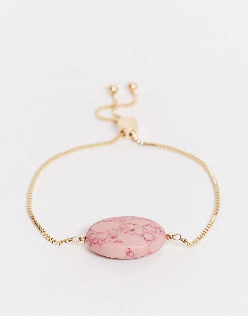 Золотистый браслет с розовым камнемASOS DESIGN-Золотой