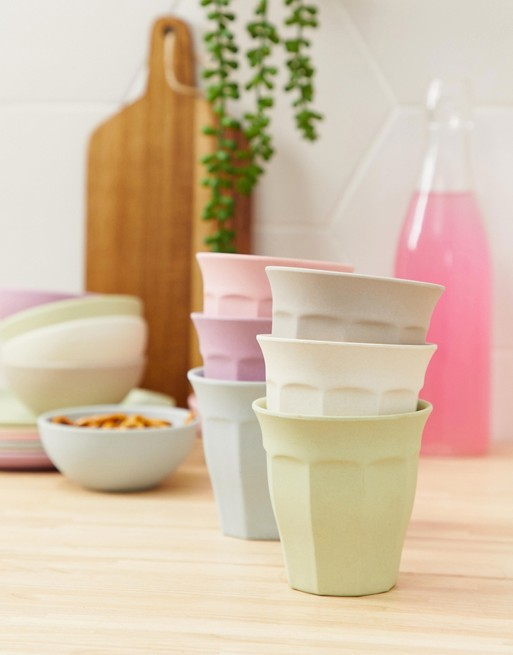 Image 1 of Zuperzozial bamboo biodegradable set of 6 pastel cups