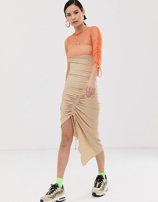 ZYA – Sukienka midi z asymetryczną, siateczkową górą 8754219